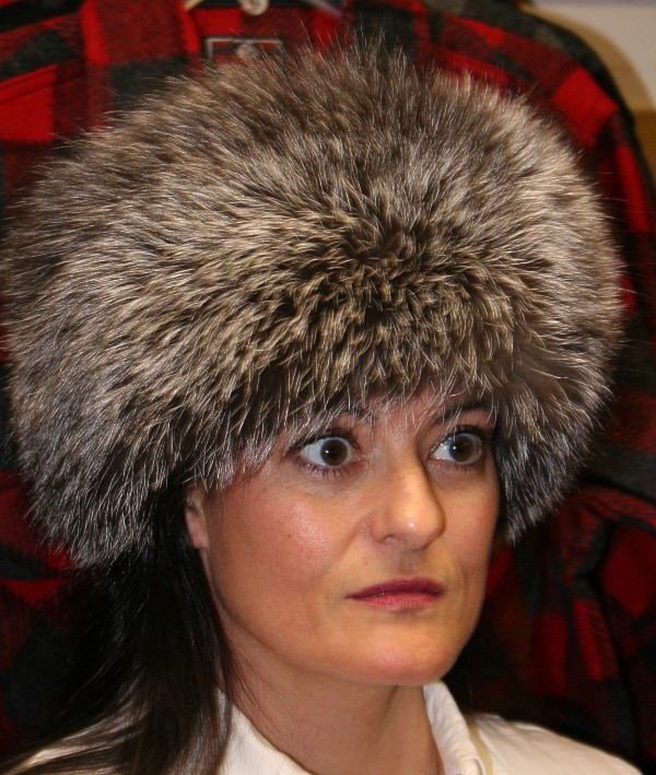 Silver Fox Pill Box Style Fur Hat