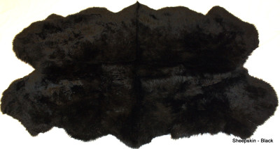 QUAD - FOUR PELT  BLACK WASHABLE SHEEPSKIN RUG - 6' x 4'
