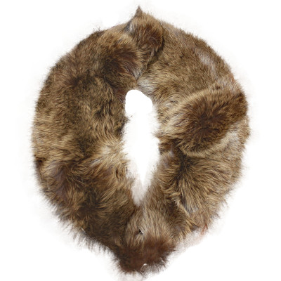 BLUE FOX FUR DETACHABLE COLLAR - BROWN-DYED