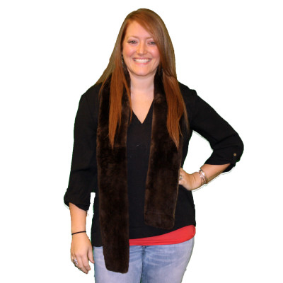 NATURAL BEAVER FUR SCARF - PLUCKED & SHEARED #1005