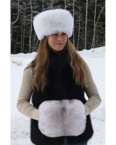 Blue Fox Fur Hand Muff