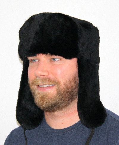 BLACK PLUCKED & SHEARED BEAVER FUR RUSSIAN TROOPER HAT