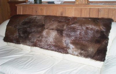 "Natural Beaver Fur Throw Blanket 48"" x 60"""