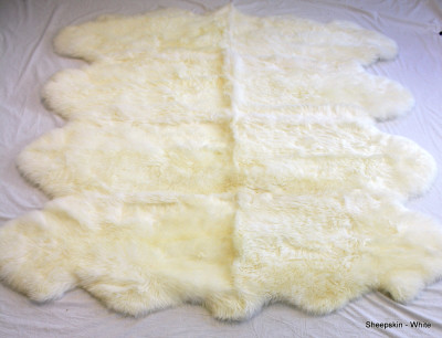"OCTO - EIGHT PELT WHITE WASHABLE SHEEPSKIN RUG - 88"" x 72"""