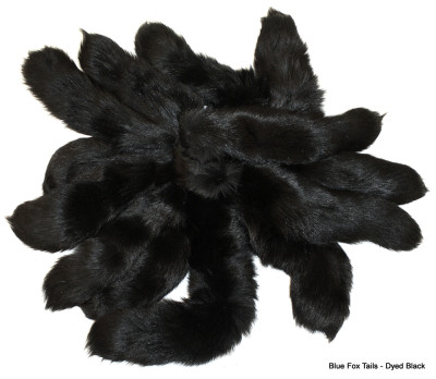 BLUE FOX TAILS/KEYCHAINS - DYED BLACK