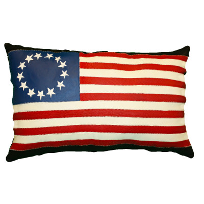 "LEATHER UNITED STATES FLAG PILLOW - ""THE PATRIOT"""