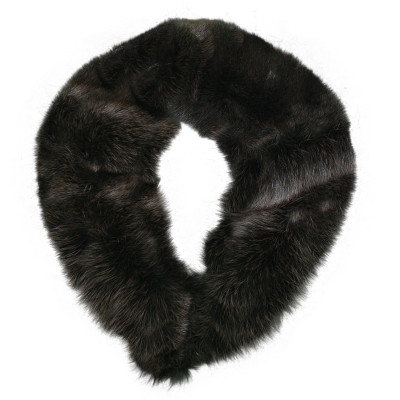 BLUE FOX FUR DETACHABLE COLLAR - CHARCOAL DYED