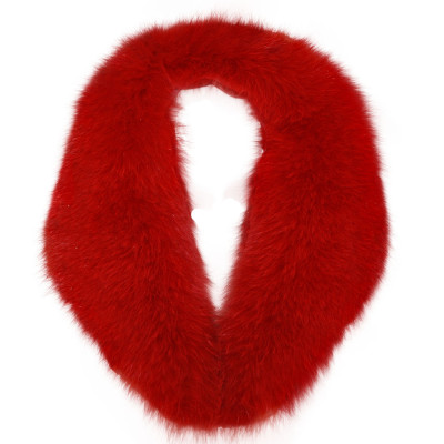BLUE FOX FUR DETACHABLE COLLAR - RED-DYED