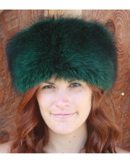 Emerald Dyed Raccoon Pill Box Style Fur Hat