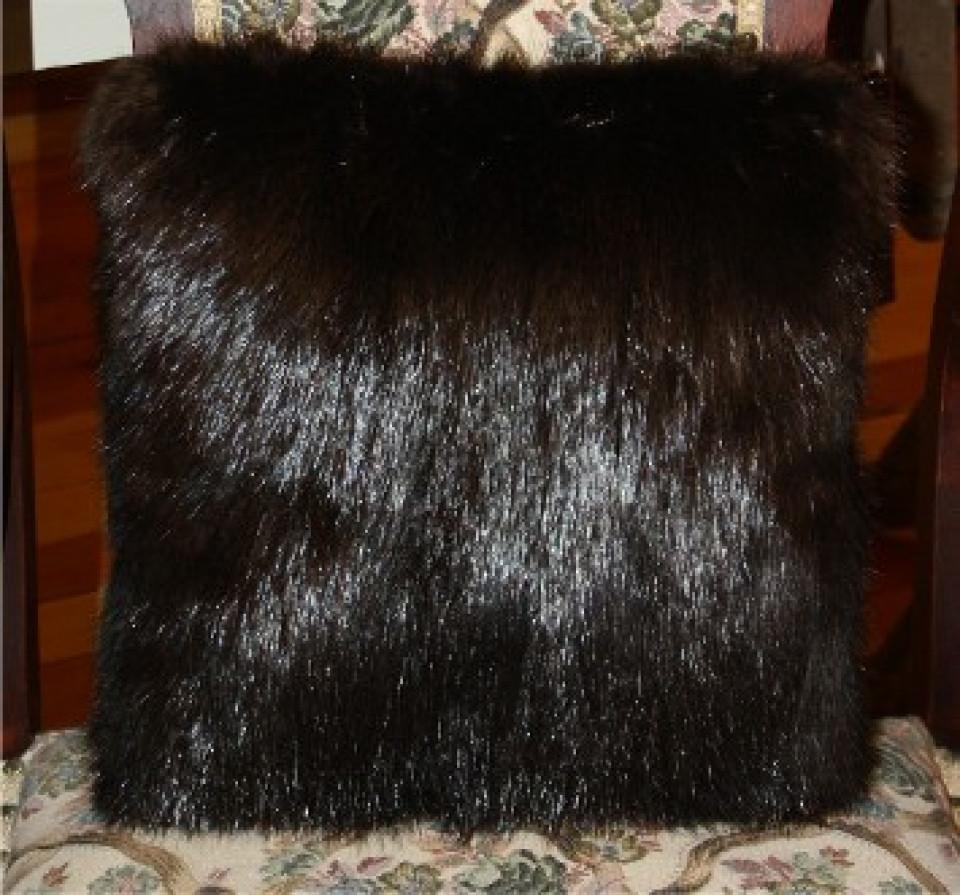natural black beaver fur pillow