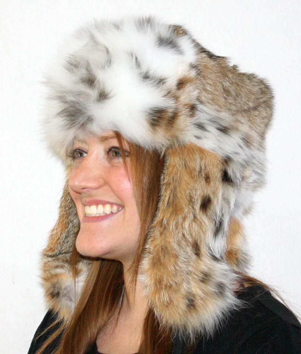 Glacier Wear Bobcat Trooper Style Fur Hat For Sale