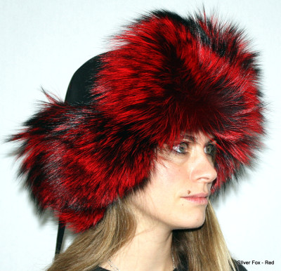 SILVER FOX FUR & LEATHER RUSSIAN TROOPER STYLE HAT - RED-DYED