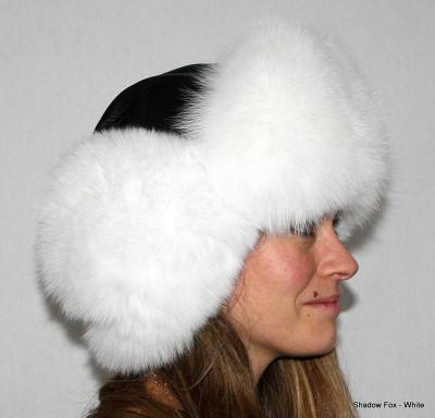 SHADOW FOX FUR & LEATHER RUSSIAN TROOPER STYLE HAT