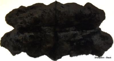 QUAD - FOUR PELT  BLACK WASHABLE SHEEPSKIN RUG - 6' x 4'