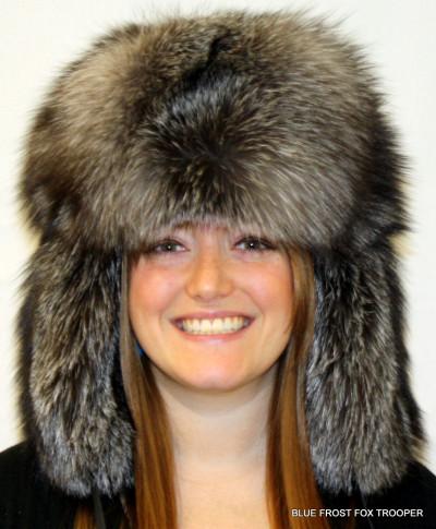 BLUE FROST FOX FUR RUSSIAN TROOPER STYLE HAT
