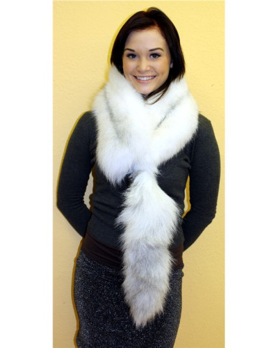 Arctic Marble Fox Fur Scarf With Tail #RCMTL
