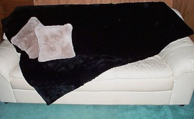 "Black Dyed Plucked And Sheared Beaver Fur Throw Blanket 60"" x 72"""