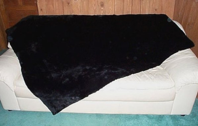 "Black Dyed Plucked And Sheared Beaver Fur Throw Blanket 40"" x 72"""