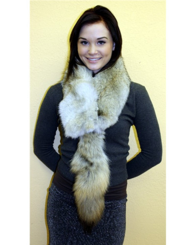Coyote Fur Scarf With Tail #CTL