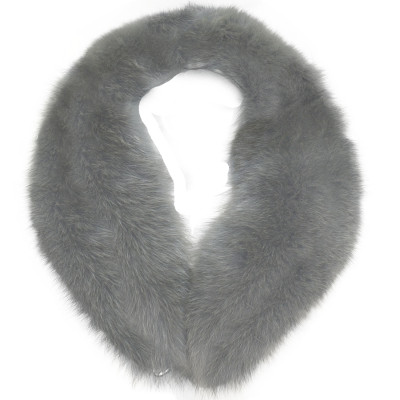 BLUE FOX FUR DETACHABLE COLLAR - GRAY-DYED