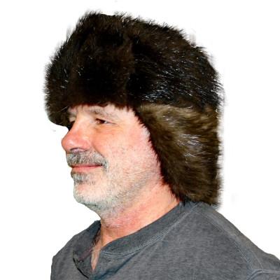 NATURAL BLACK BEAVER FUR RUSSIAN TROOPER STYLE HAT