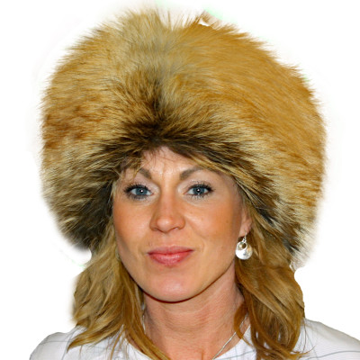 RED FOX FUR PILL BOX HAT