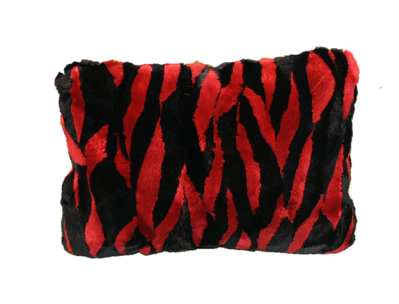 RED AND BLACK SHEARED BEAVER FUR PILLOW