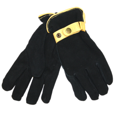 DEERSKIN SUEDE GLOVES - BLACK WITH GOLD TRIM