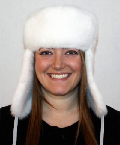 WHITE MINK FUR RUSSIAN TROOPER STYLE HAT