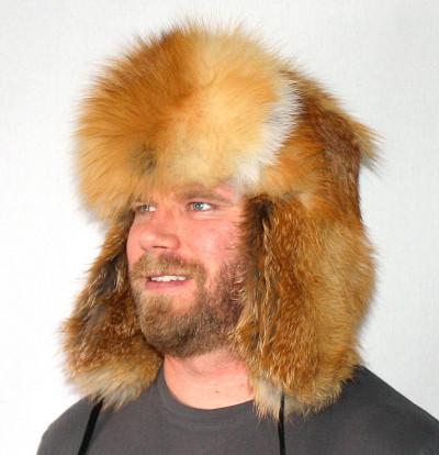 RED FOX FUR RUSSIAN TROOPER STYLE HAT