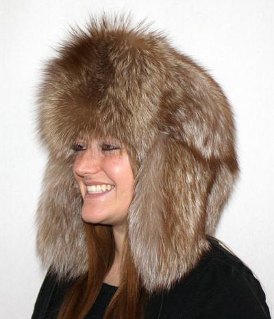 BURGUNDY FOX FUR RUSSIAN TROOPER STYLE HAT