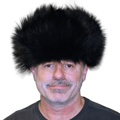 COYOTE FUR RUSSIAN TROOPER STYLE HAT - DYED BLACK