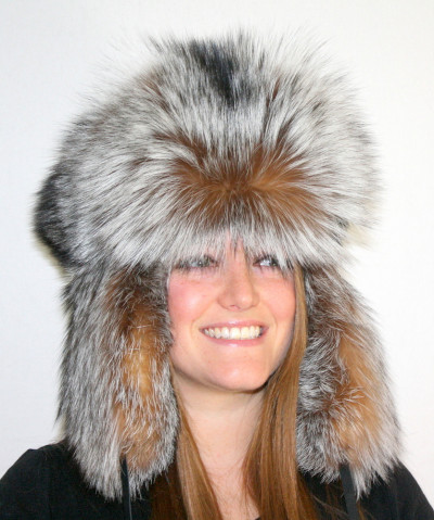 CRYSTAL FOX FUR RUSSIAN TROOPER STYLE HAT
