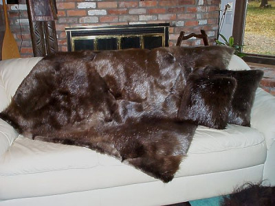 "Natural Beaver Fur Throw Blanket 60"" x 72"", 66"" x 72"" And 72"" x 80"""