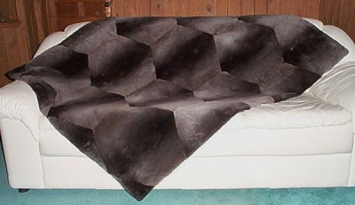 "Natural Plucked And Sheared Beaver Fur Throw Blanket 60"" x 72"""