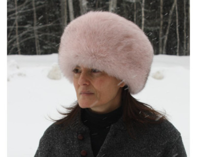 BLUE FOX FUR PILL BOX HAT - PINK-DYED