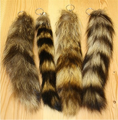 IMPORTED RACCOON TAIL KEYCHAIN