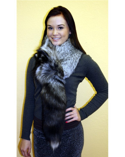 Silver Fox Fur Scarf With Tail #SVTL