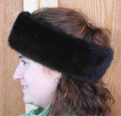 MAHOGANY MINK FUR HEADBAND | FUR NECK WARMER | FUR NECK COLLAR