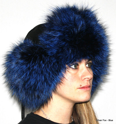 SILVER FOX FUR & LEATHER RUSSIAN TROOPER STYLE HAT - BLUE-DYED