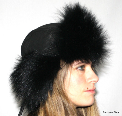 RACCOON FUR & LEATHER RUSSIAN TROOPER STYLE HAT - BLACK-DYED