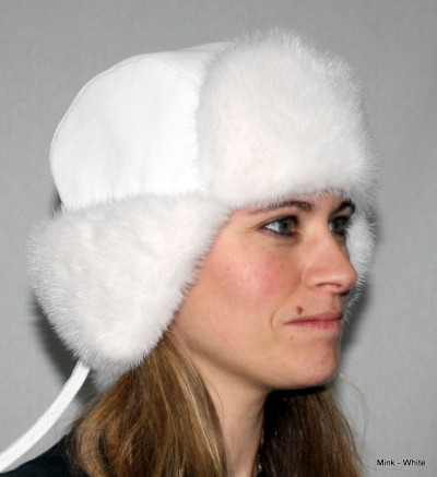 WHITE MINK FUR & LEATHER RUSSIAN TROOPER STYLE HAT