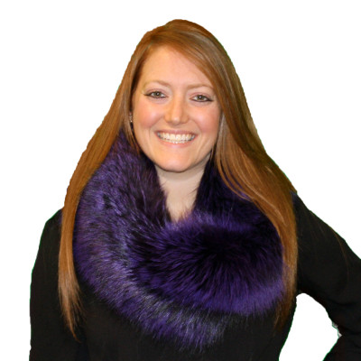 SILVER FOX FUR INFINITY SCARF - PURPLE OR RED #4077