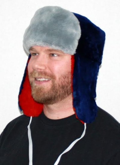 NEW ENGLAND PATRIOTS FUR TROOPER STYLE HAT - WITH GRAY