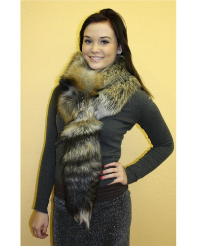 Cross Fox Fur Scarf With Tail #CRTL