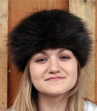 NATURAL BLACK BEAVER FUR PILL BOX HAT