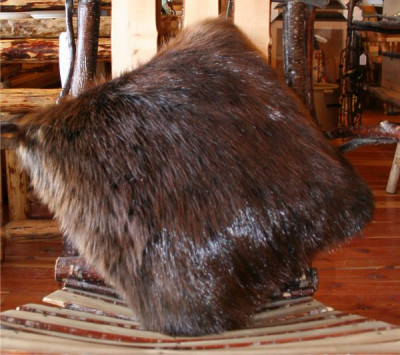 DOUBLE SIDED NATURAL BEAVER FUR PILLOW