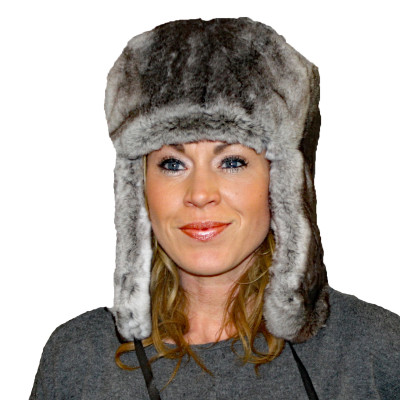 CHINCHILLA REX RABBIT FUR RUSSIAN TROOPER STYLE HAT
