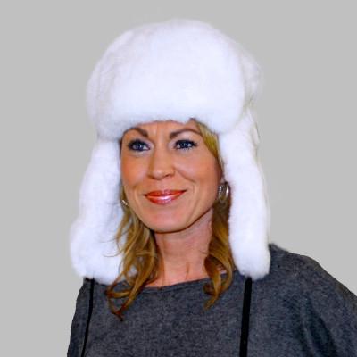 WHITE REX RABBIT FUR RUSSIAN TROOPER STYLE HAT