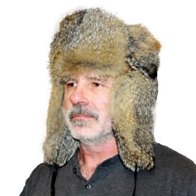 GRAY FOX FUR RUSSIAN TROOPER STYLE HAT